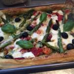 (V) Vegetarian Asparagus, Mozarella and Tomato Tart